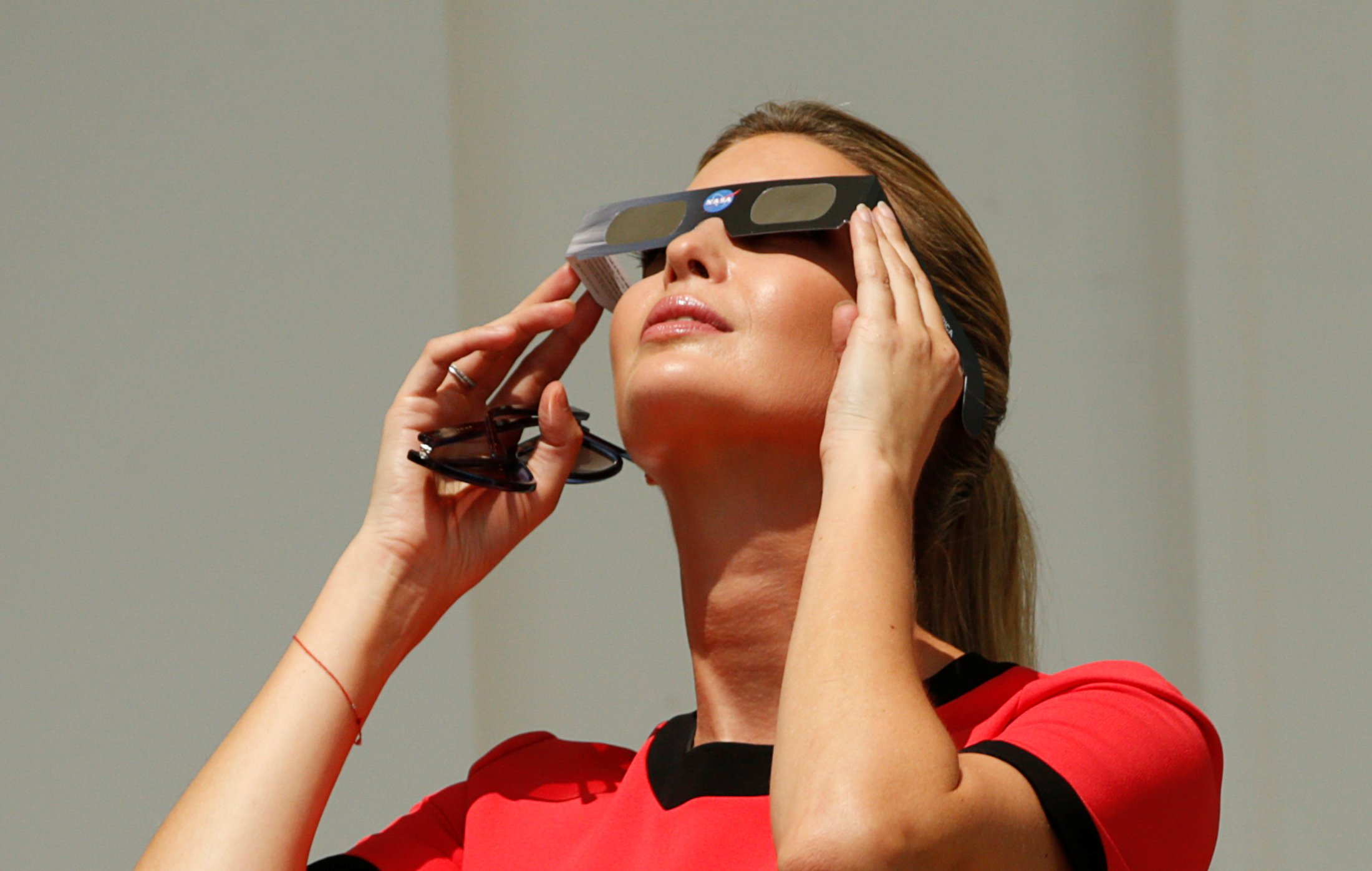 Ivanka Trump watches the solar eclipse from the White House in Washington