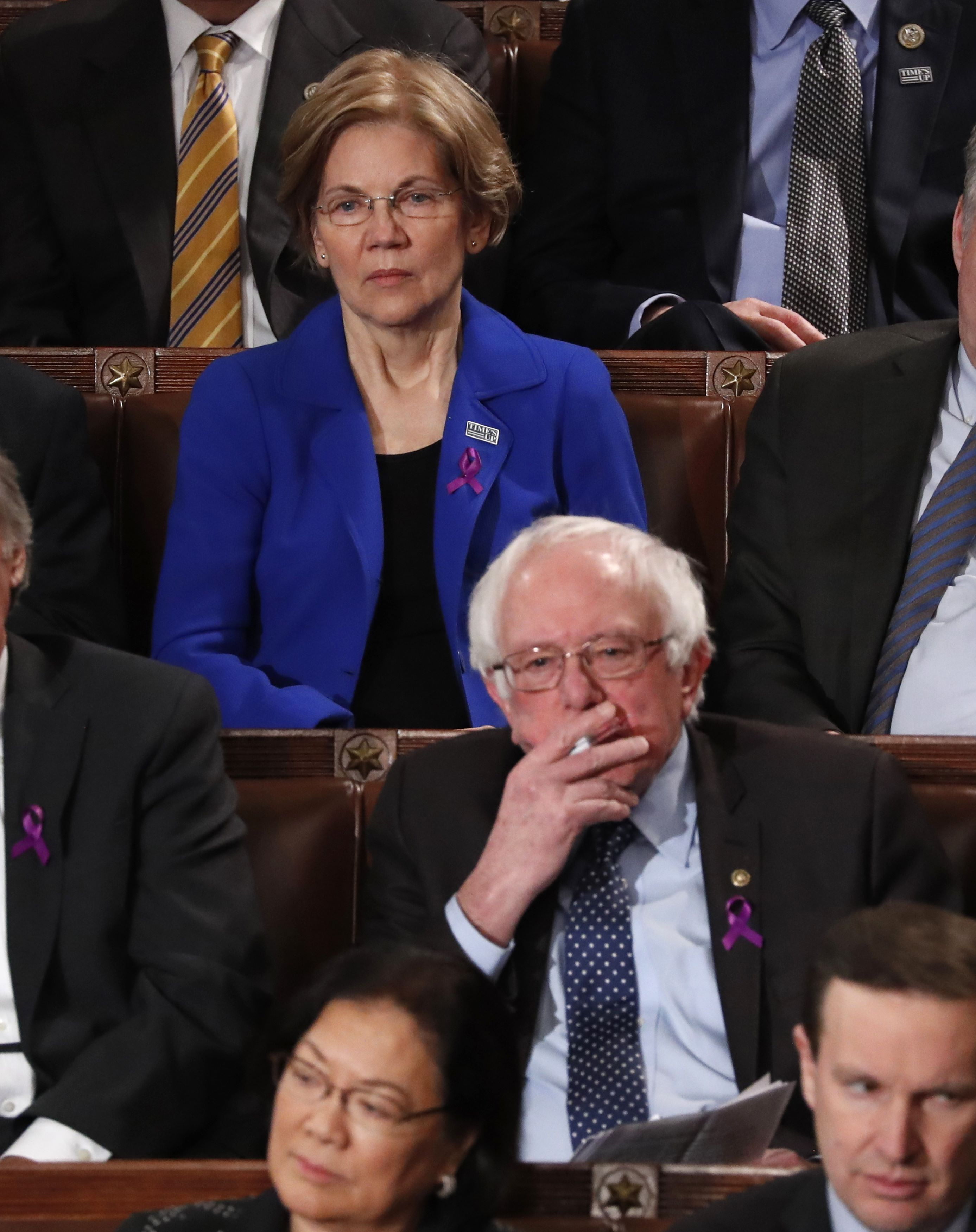 Senators listen as U.S. President Trump delivers his State of the Union address in Washington