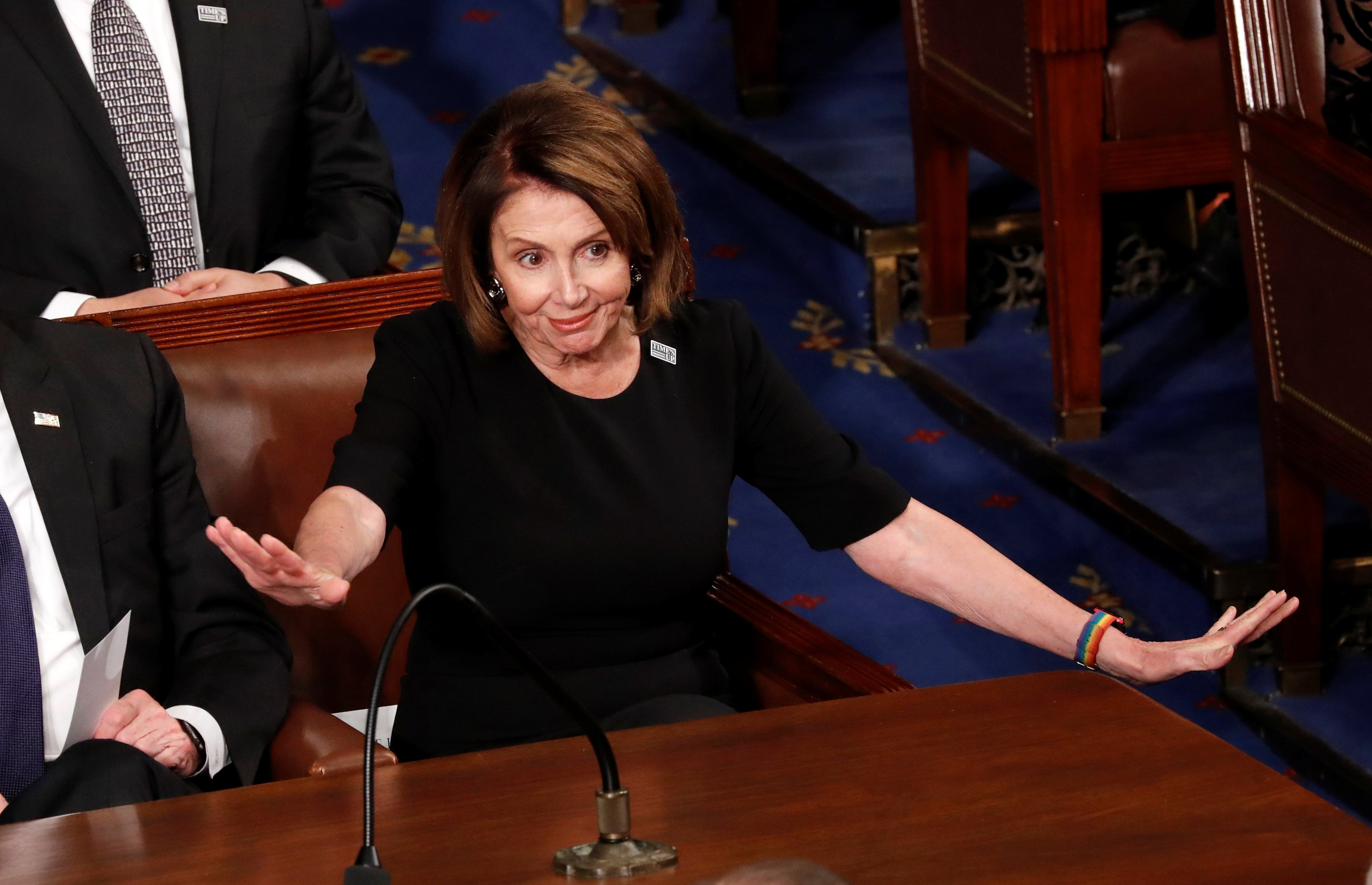 House Minority Leader Pelosi reacts as U.S. President Trump delivers his State of the Union address in Washington
