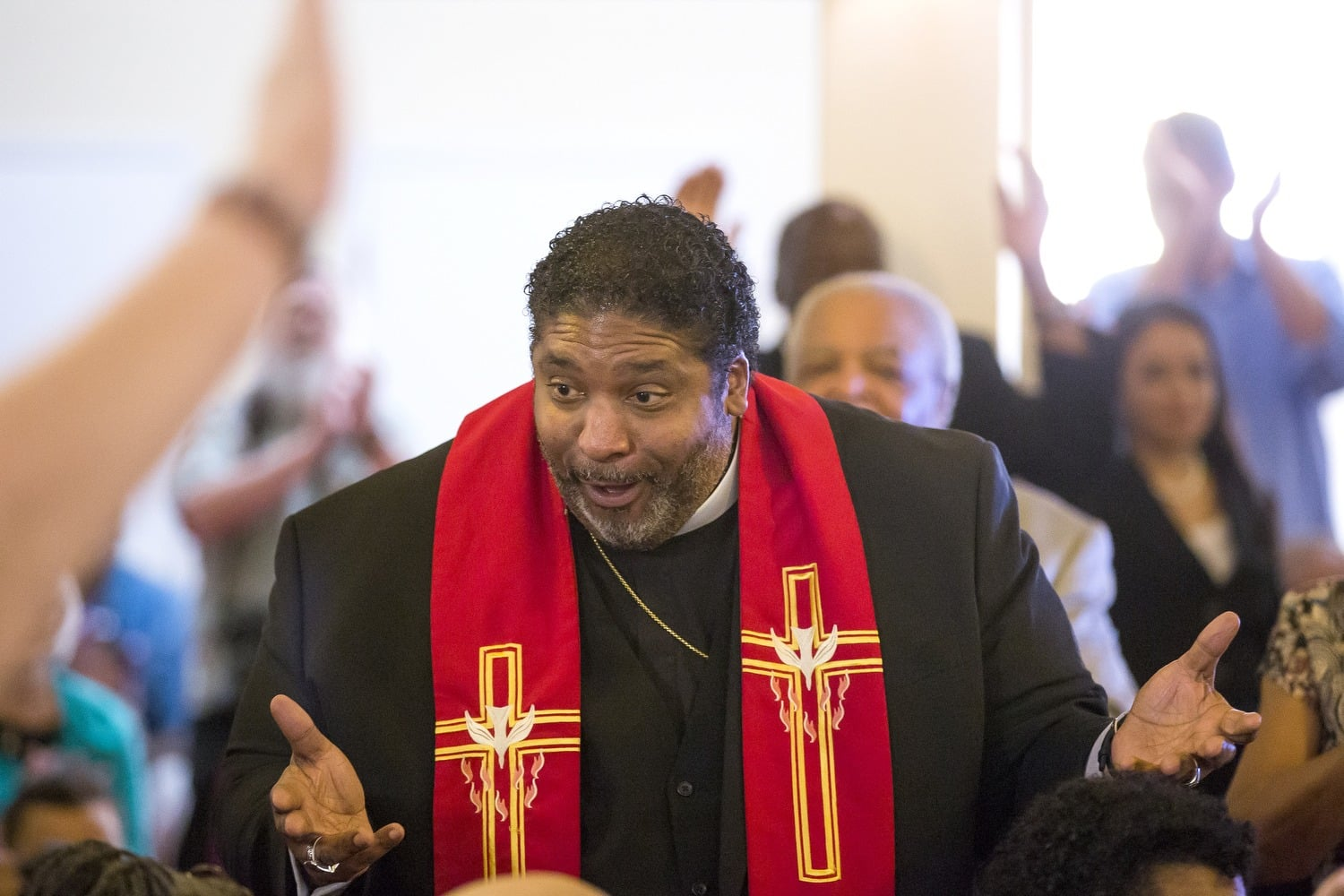 The Rev. William J. Barber II addresses his supporters before discussing his plans to step down as president of the North Carolina NAACP during a press conference at the Davie Street Presbyterian Church on May 15.