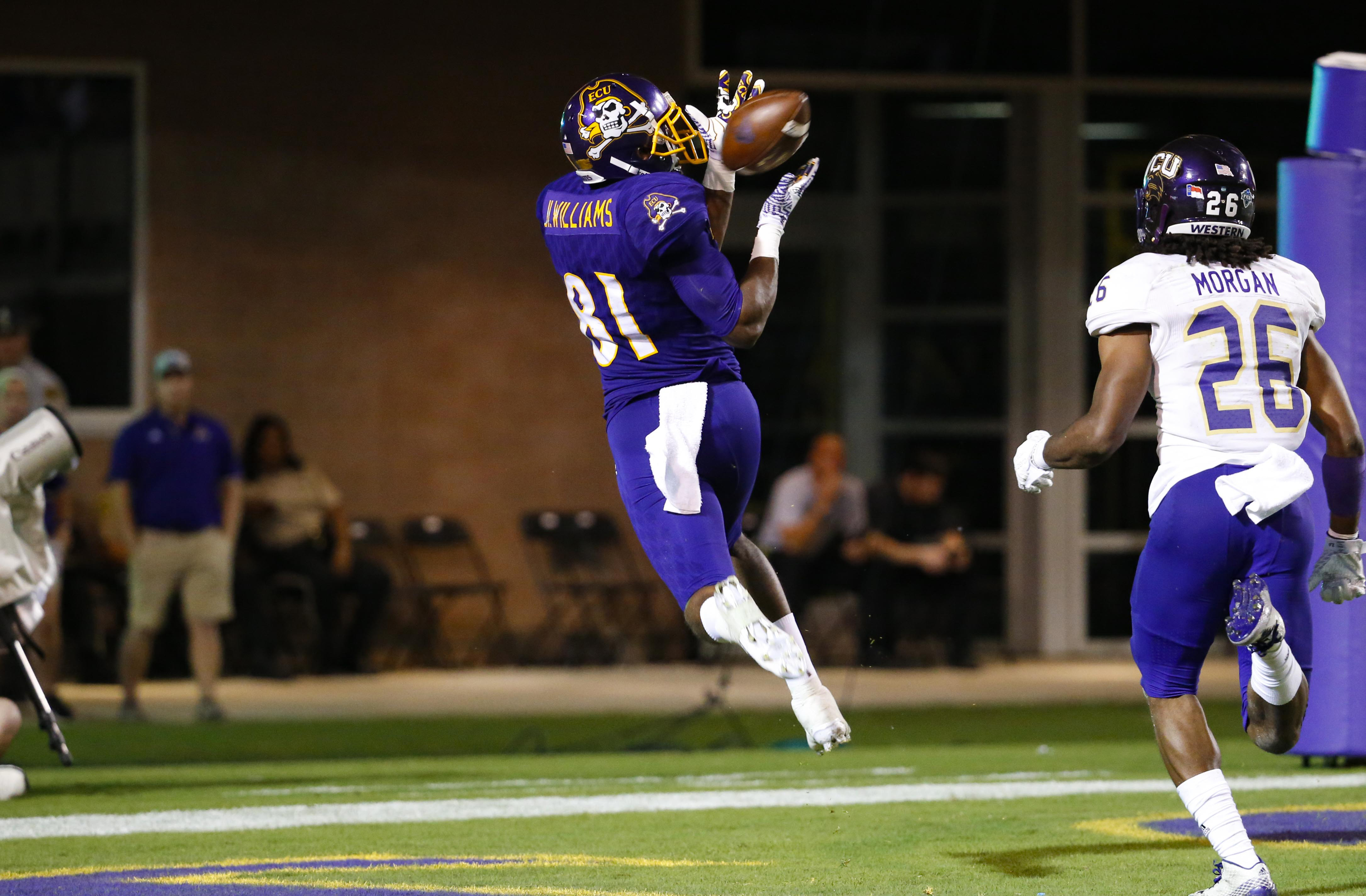 Jimmy Williams catches a touchdown pass in East Carolina's victory against Western Carolina last season
