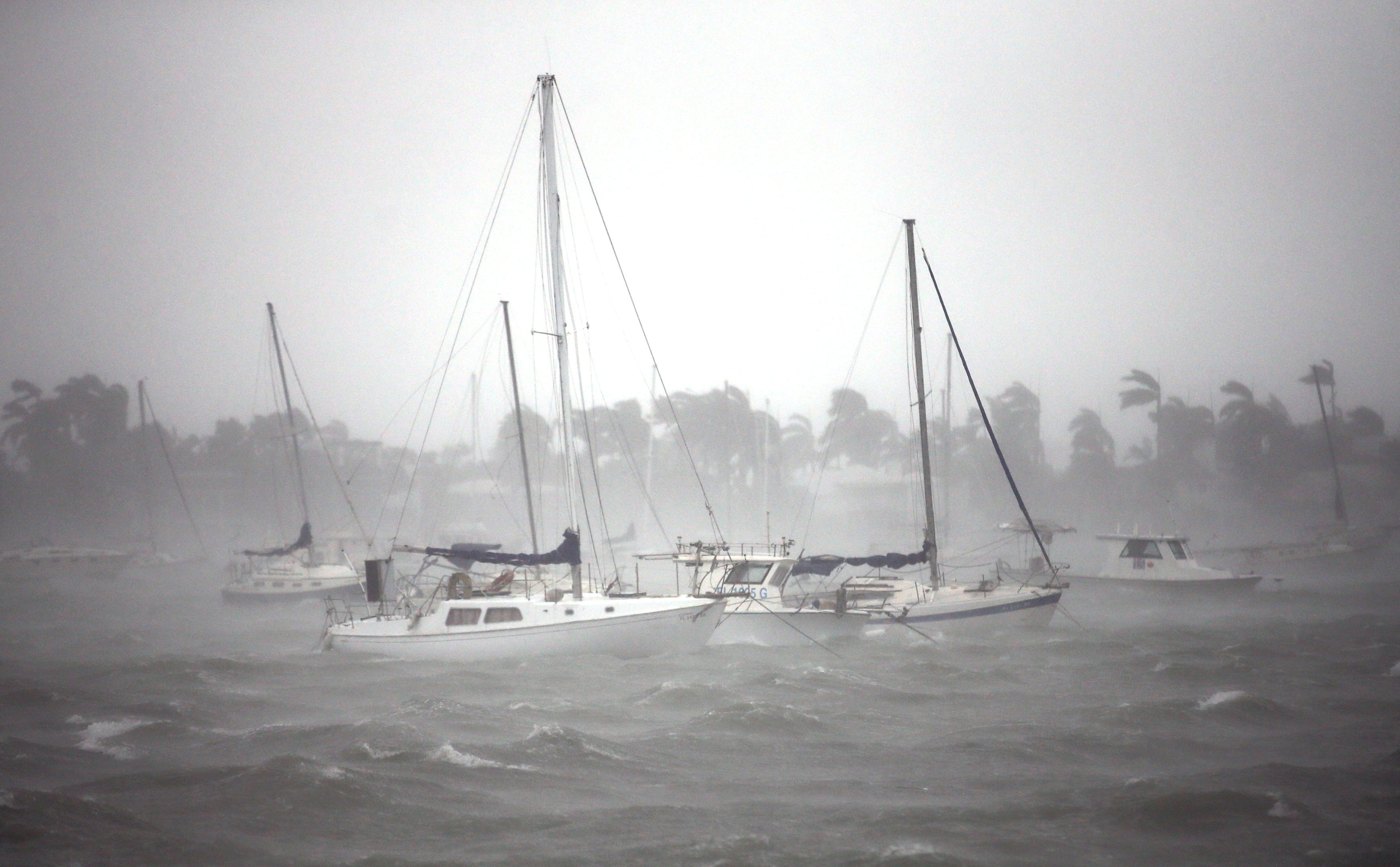 Boats are seen at a marina in South Beach as Hurricane Irma arrives at south Florida, in Miami Beach, Florida