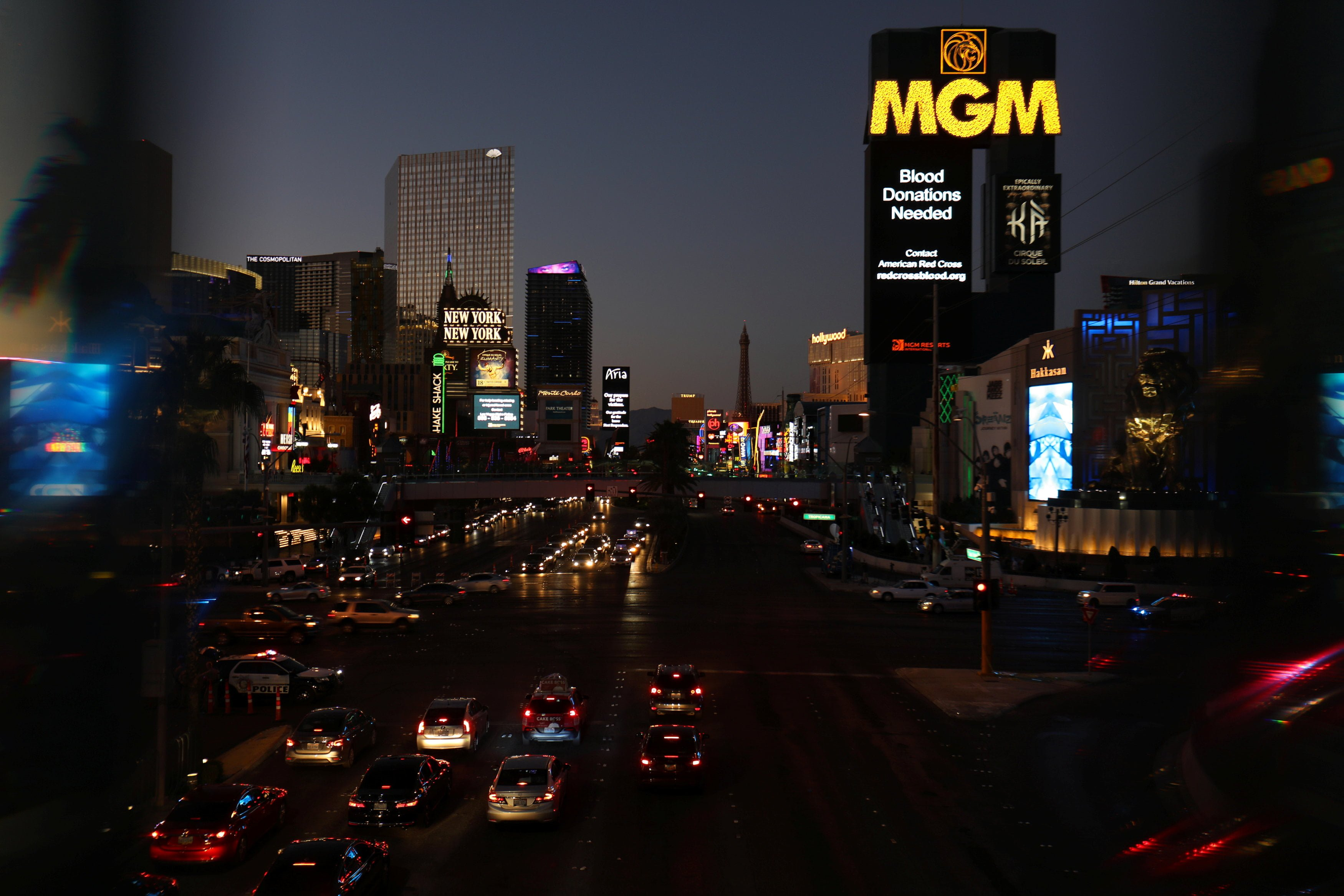 """A sign reading """"Blood Donations Needed"""" is seen in Las Vegas Boulevard after a mass shooing at the Route 91 Harvest Country Music Festival in Las Vegas, Nevada"""