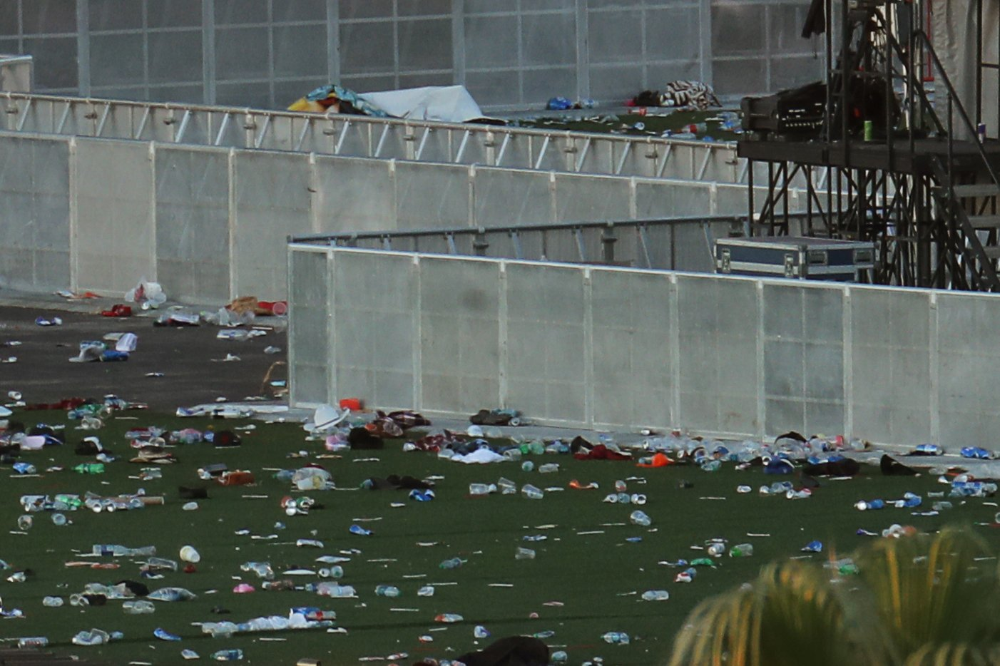 Personal belongings lay tossed aside on the fair grounds following the mass shooing at the Route 91 Harvest Country Music Festival on the Las Vegas Strip in Las Vegas, Nevada