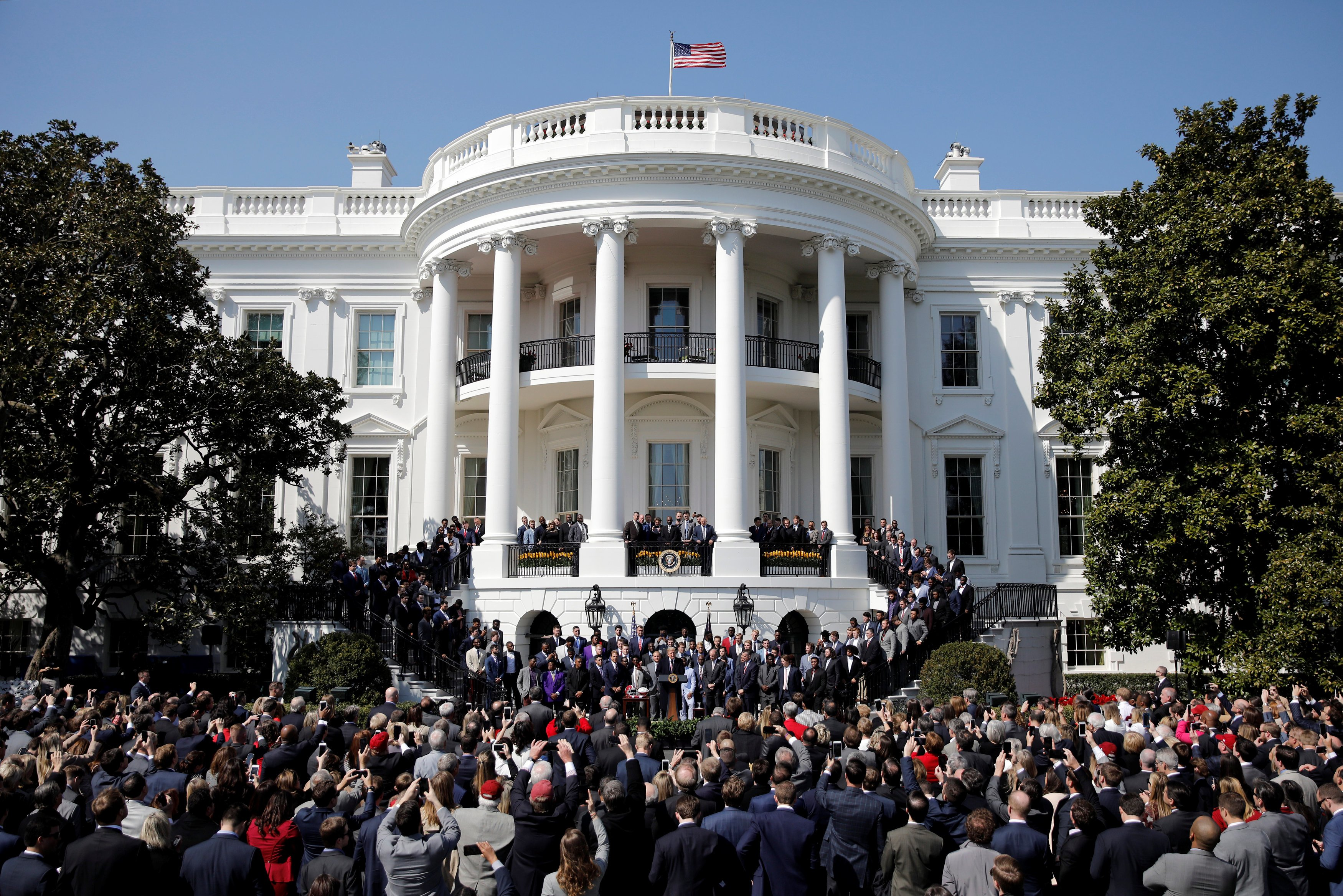 U.S. President Donald Trump welcomes the 2017 NCAA Football National Champions, The Alabama Crimson Tide  during an event at the South Lawn of the White House in Washington