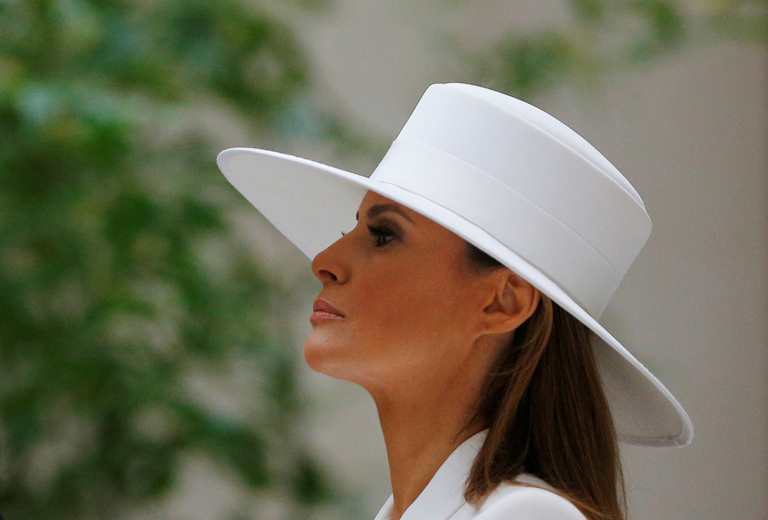 United States first lady Melania Trump visits the National Gallery of Art with her French counterpart Brigitte Macron in Washington