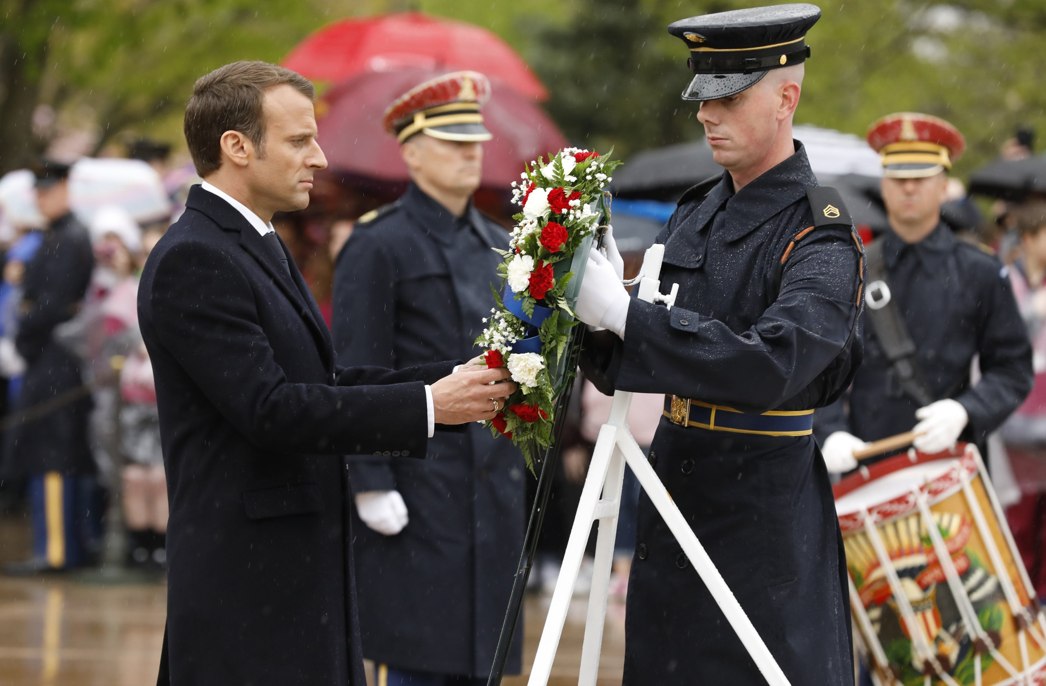 French President Macron places a wreath at the Tomb of the Unknown Soldier in Arlington National Cemetery outside Washington