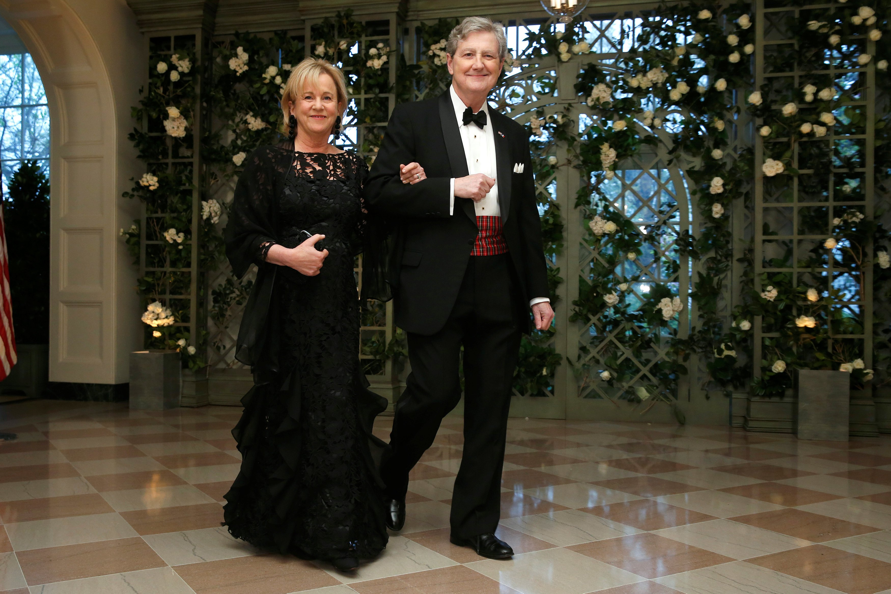 Senator Kennedy and his wife arrive for the State Dinner in honor of French President Macron at the White House in Washington