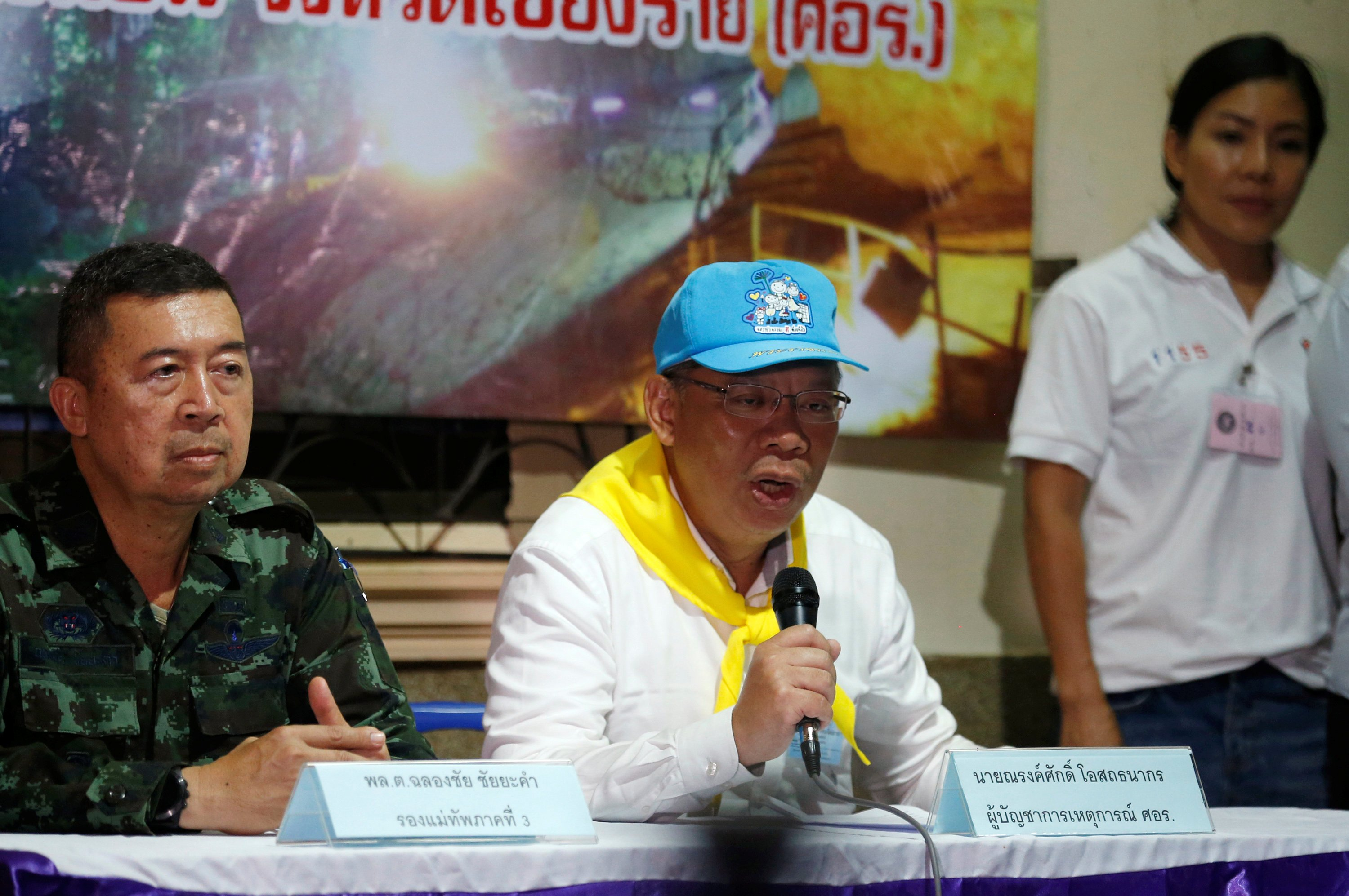 Chiang Rai province acting governor Narongsak Osatanakorn talks to journalist during a news conference near Tham Luang cave complex, in the northern province of Chiang Rai