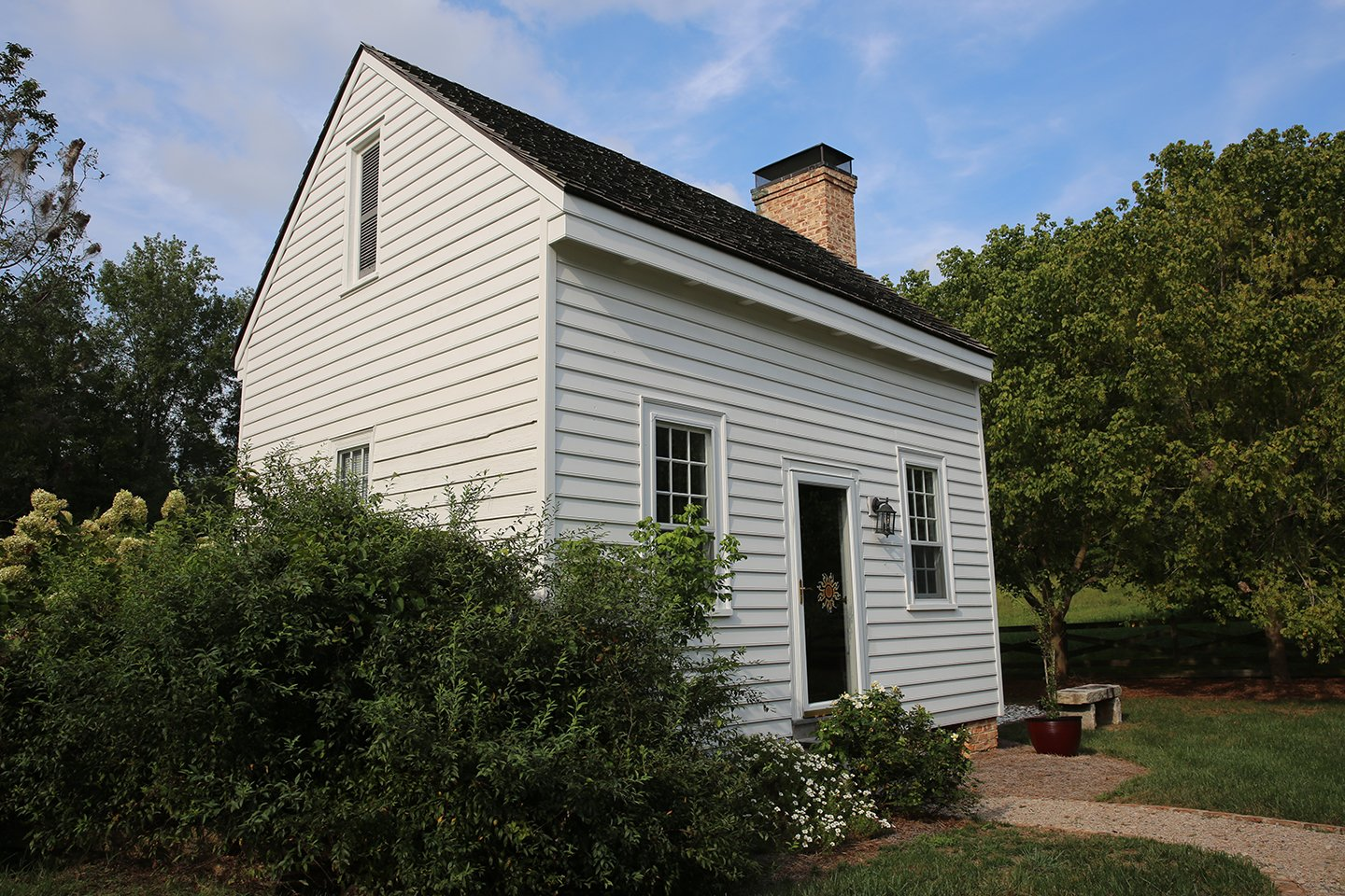 Pictured is the original school house built with the house.